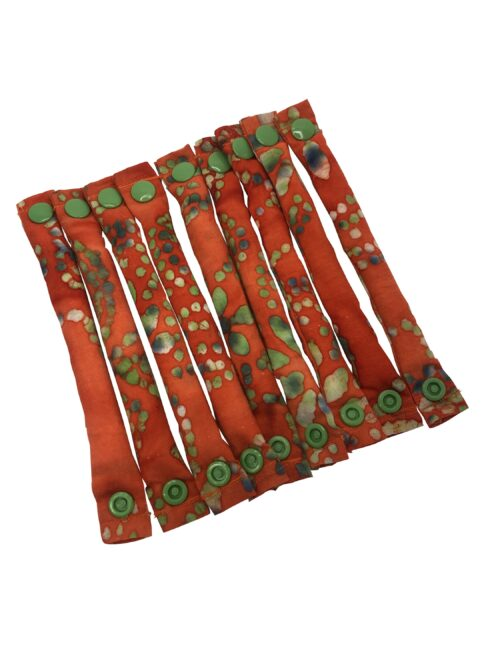 Orange and Green Batik hair rollers