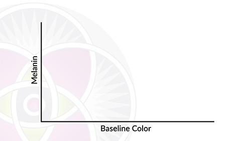 On the left of this graph is the amount of melanin in your skin. On the bottom is your baseline color.