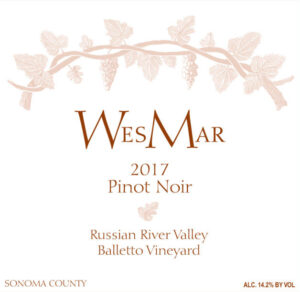 WesMar Winery Balletto Vineyard 2017 Pinot Noir