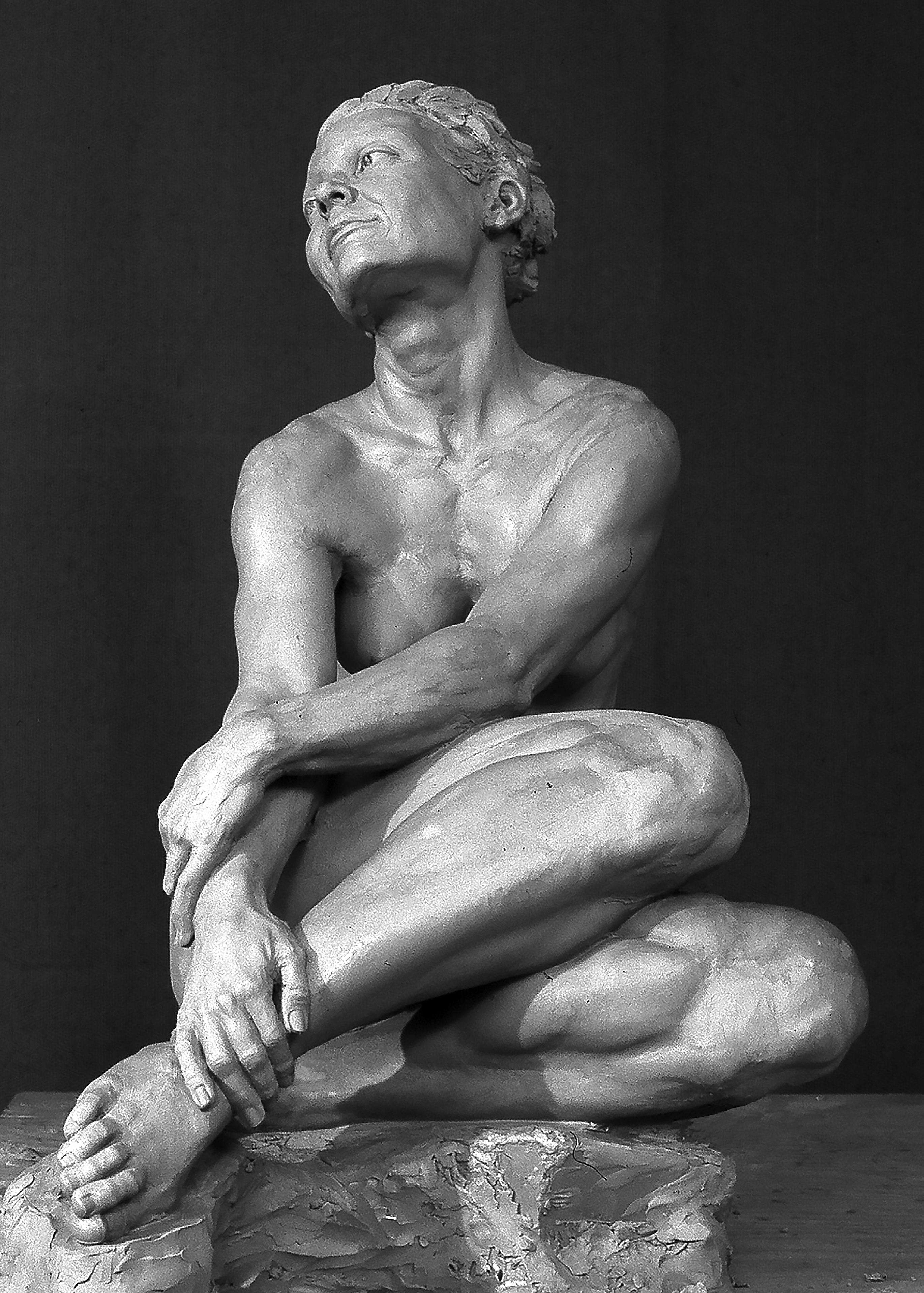 Livia: Seated Siren, clay sculpture prior to plaster casting; sculpted from life by P. Brad Parker