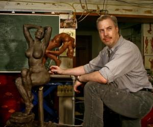 P. Brad Parker with works in progress in his studio
