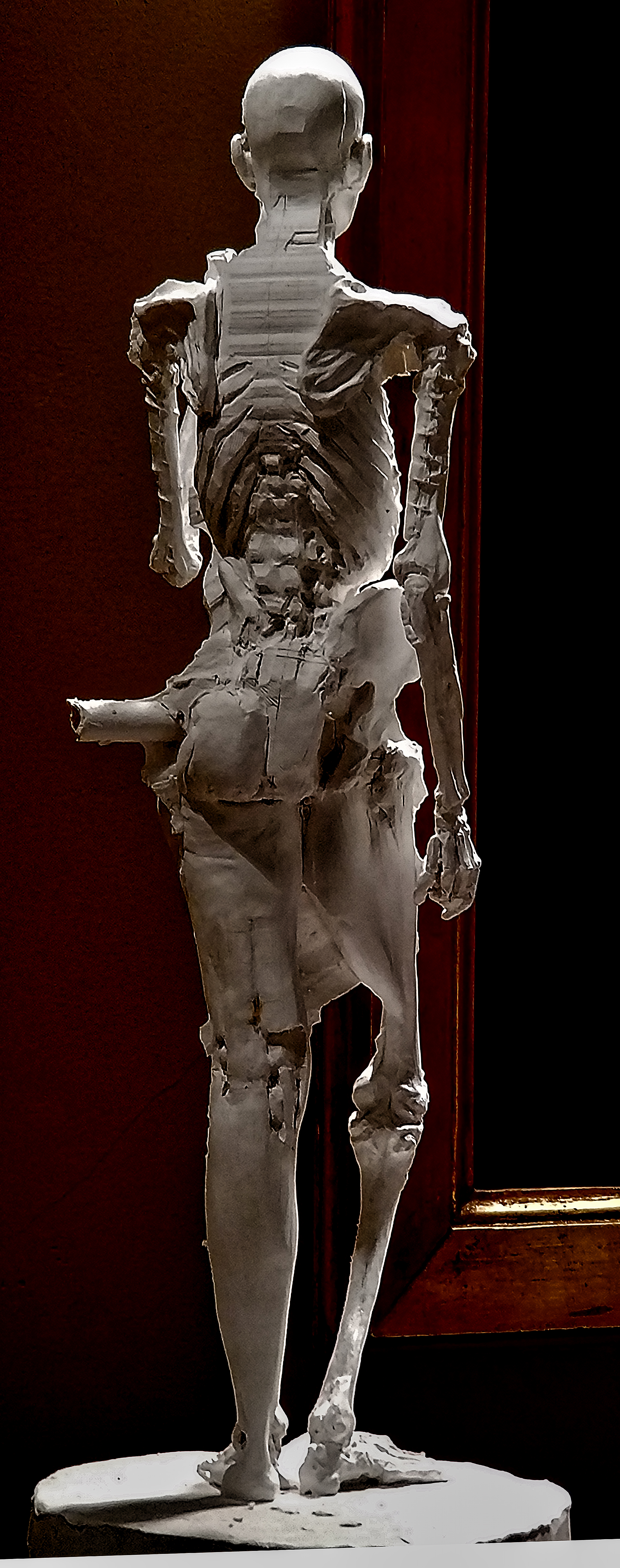 Anatomy Figure Class Demonstration Sculpture, Plaster - unchased - raw, Ana Russian Back View 2