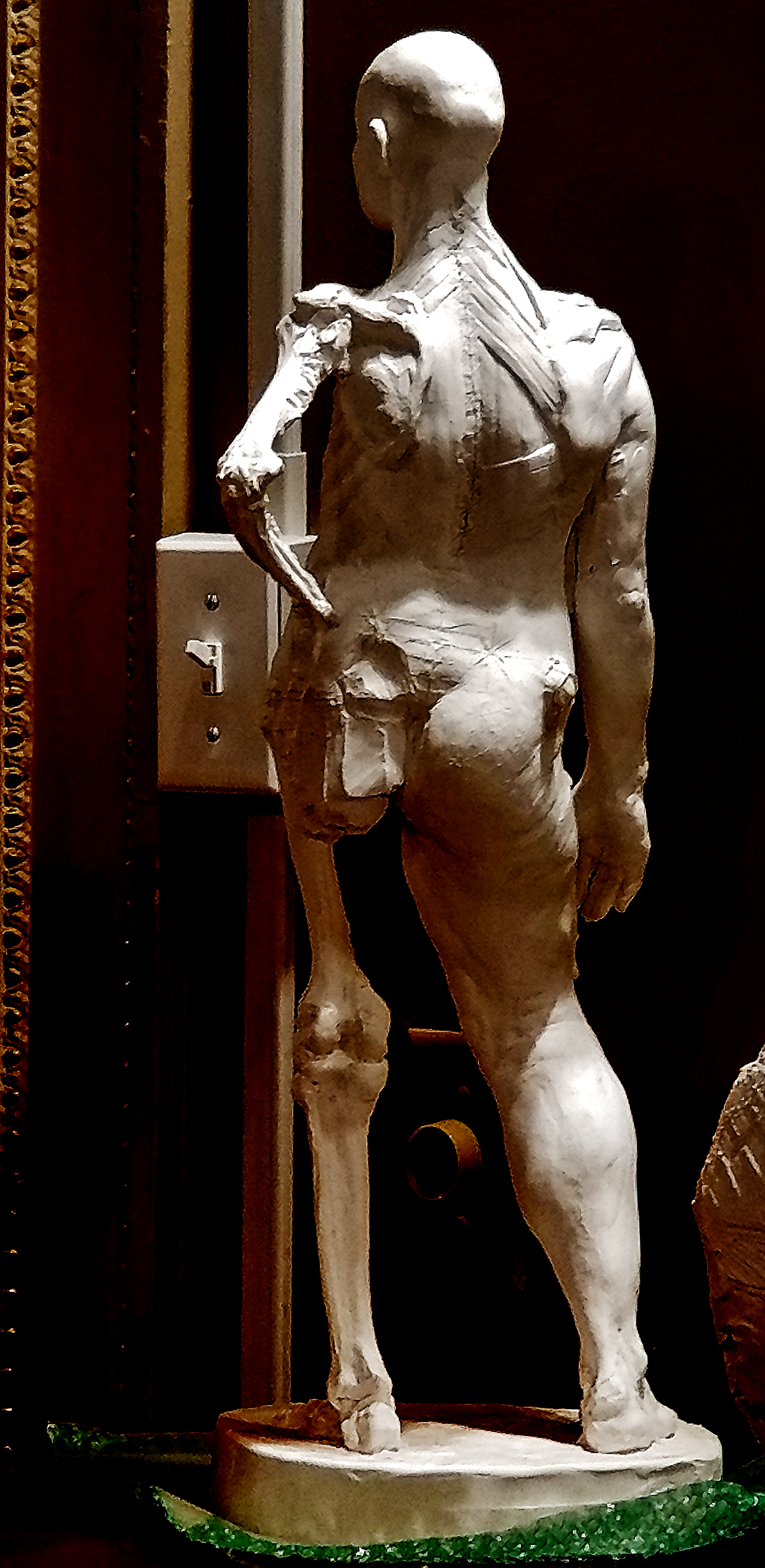 Anatomy Figure Demonstration Sculpture From Class, Plaster - unchased - raw, Anna Prussian Back View
