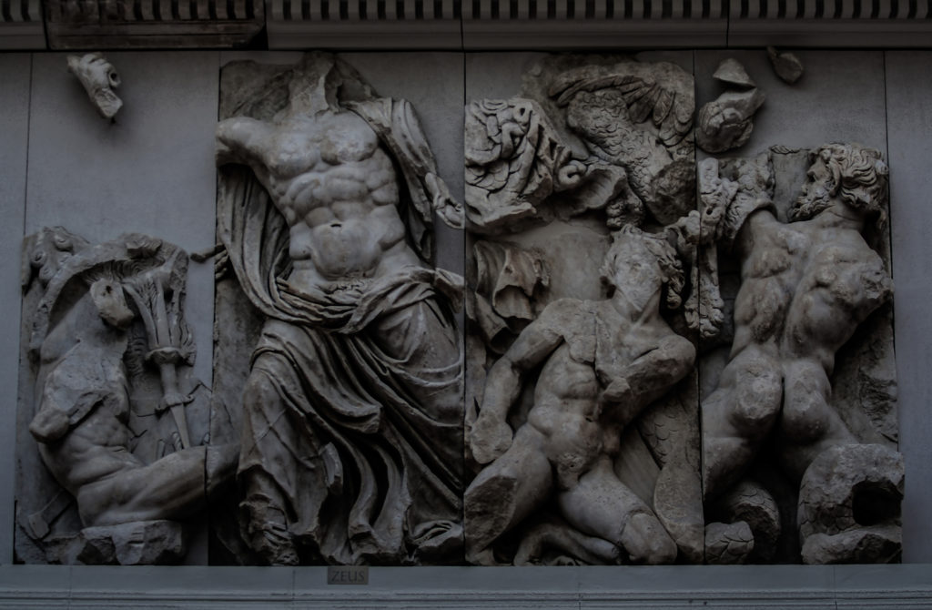 Great Frieze of the Pergamon Altar, 180-159 BC. East frieze. Zeus fights against two young Giants but also against their leader Porphyrion (right), 'Gigantomachy', the struggle between the gods and the giants, Pergamon Museum, Berlin
