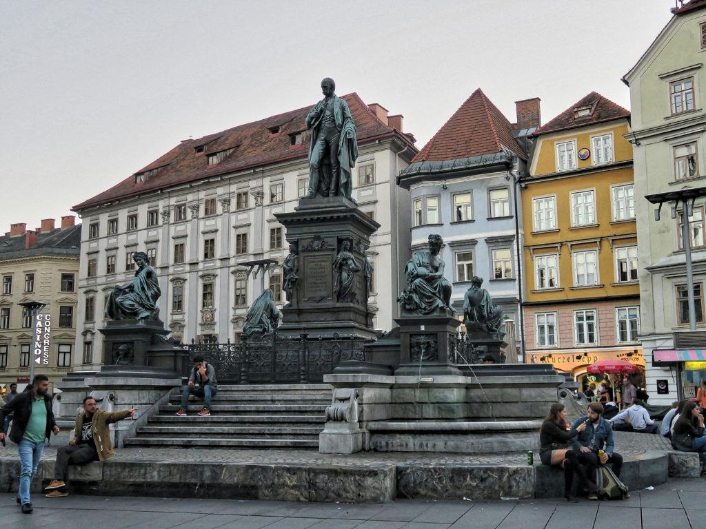 Erzherzog Johann Brunnen - The Archduke Johann Fountain at Hautplatz in Graz, - sculptor - Franz Pönninger