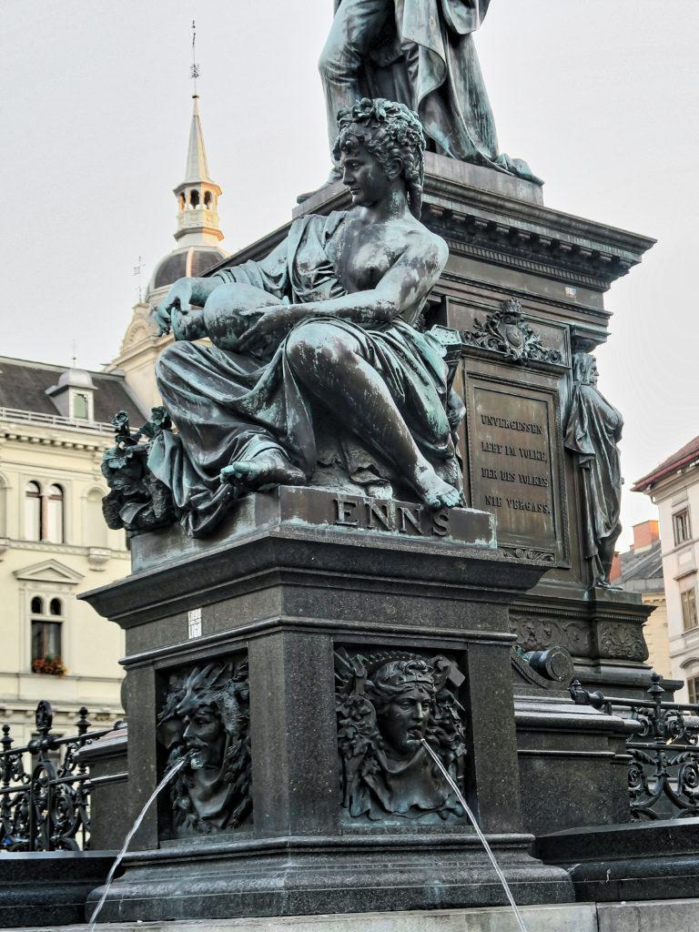 Erzherzog Johann Brunnen, The Archduke Johann Fountain at Hautplatz in Graz, Austria, sculptor - Franz Pönninger