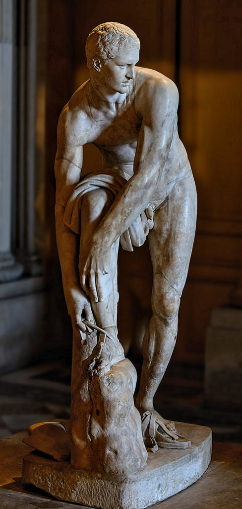 Jason the Sandal-binder, Cincinnatus, Hellenistic, Greco-Roman sculpture, Louvre - reconstruction with correct head in the Copenhagen Royal Cast Collection, this version in the Louvre has the wrong head