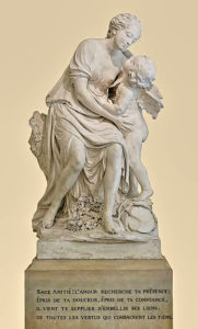 Madame de Pompadour 1721 - 1764 as Friendship in L'Amour embrassant l'Amitie sculpture, started in 1754 and completed in 1758 by Jean-Baptiste Pigalle 1714 - 1785