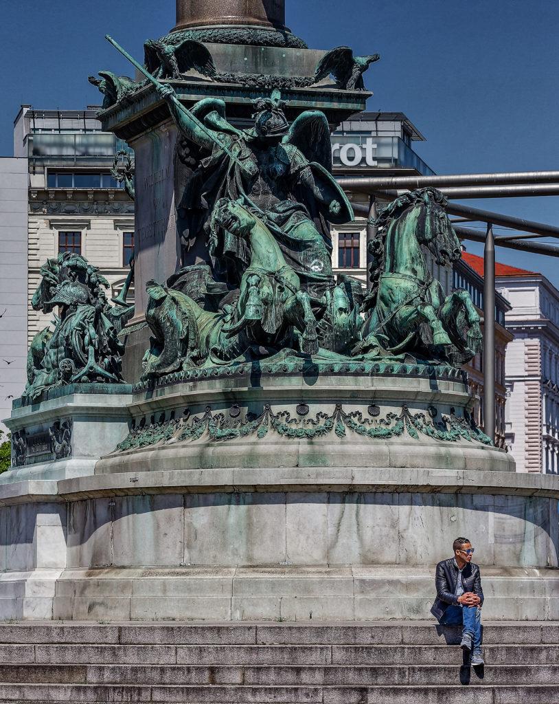 Praterstern in Vienna - Leopoldstadt, Tegetthoff Denkmal, Wein, Praterstern, Carl Kundmann, bildhauer - statue, and Carl von Hasenauer, architecture, unveiled on September 21, 1886