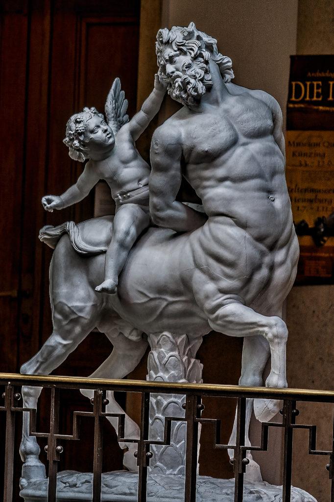 Satyr and Eros, Hellenistic, Greco-Roman copy - Louvre Paris, Plaster Munich