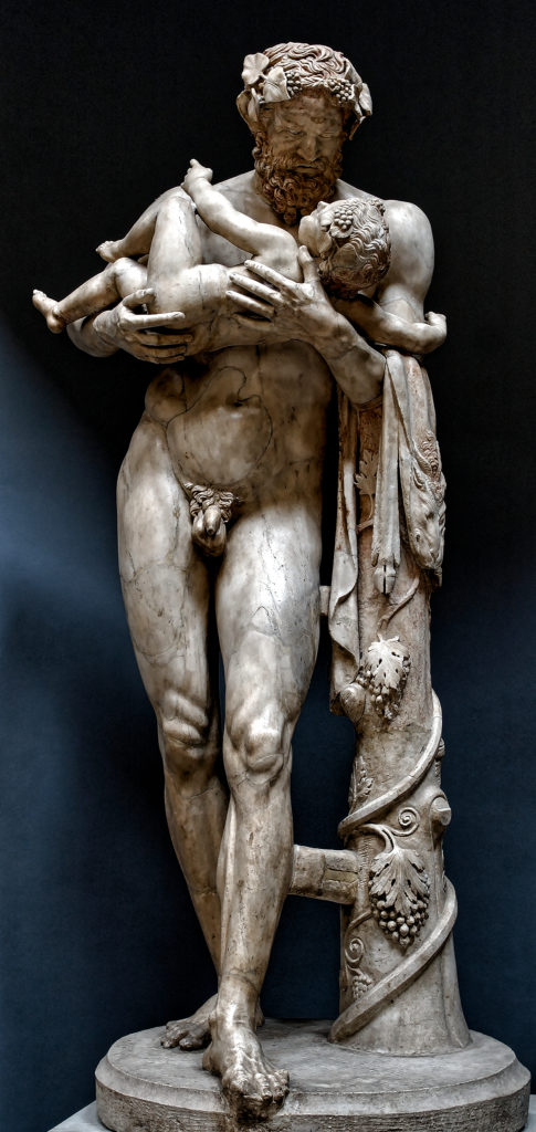 Silenus_and_infant_Dionysos_Vatican_MuseumSilenus holding infant Dionysos, copy Greco-Roman of the school of Lyssipos - Hellenistic original, - Vatican Museum, Braccio_Nuovo