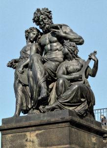 Johannes Schilling, bildhauer - Vier Tageszeiten Abend (The evening) Statuengruppe am nördlichen Aufgang der Brühlschen Terrasse in Dresden, Bronze casts replaced the four original sandstone figures since 1908