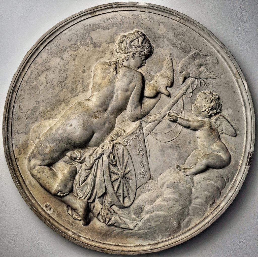 Rheinhold Begas - Amor Taube Kilger, Venus on the dove car, after models - 1867, plaster unmounted dm. 92 cm, Begas Haus-Museum of Art and Regional History, Heinsberg, Germany