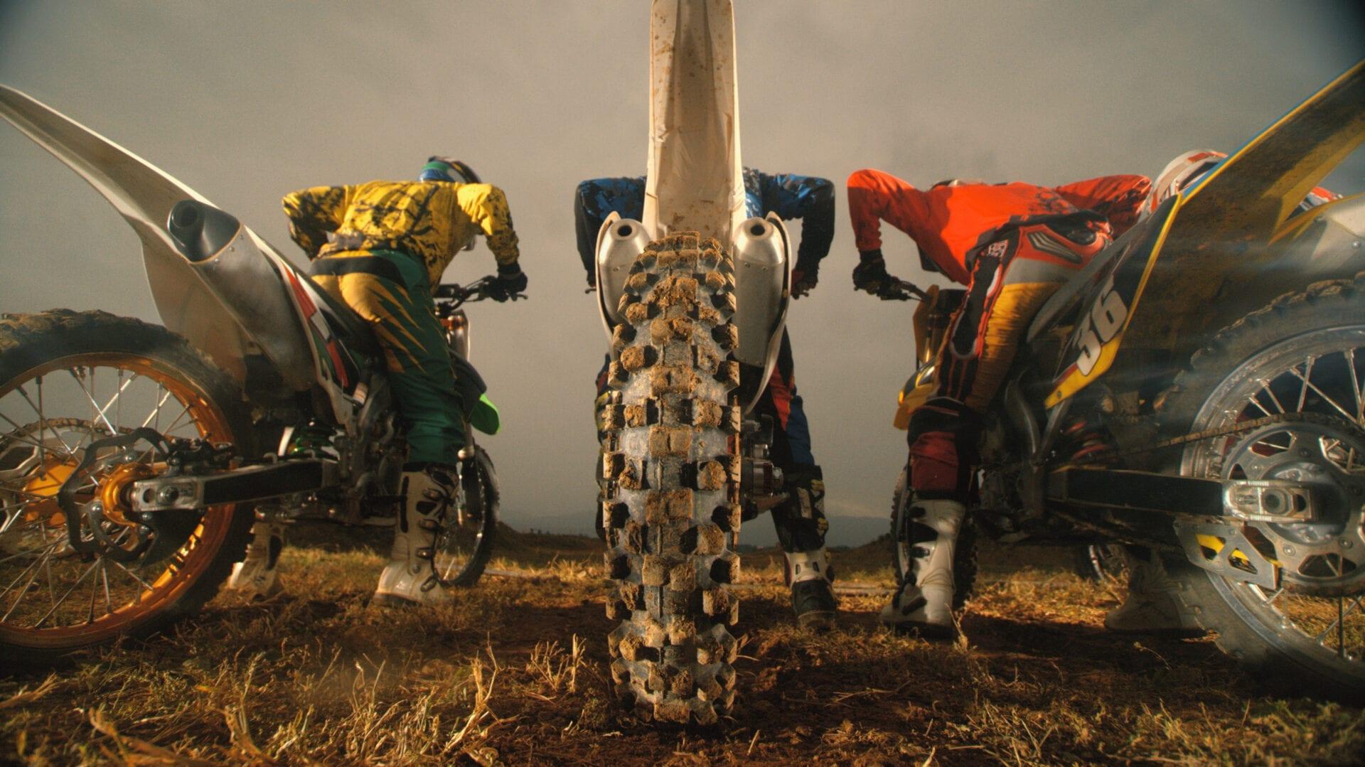 Motocross riders at start of race
