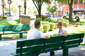 people on park bench
