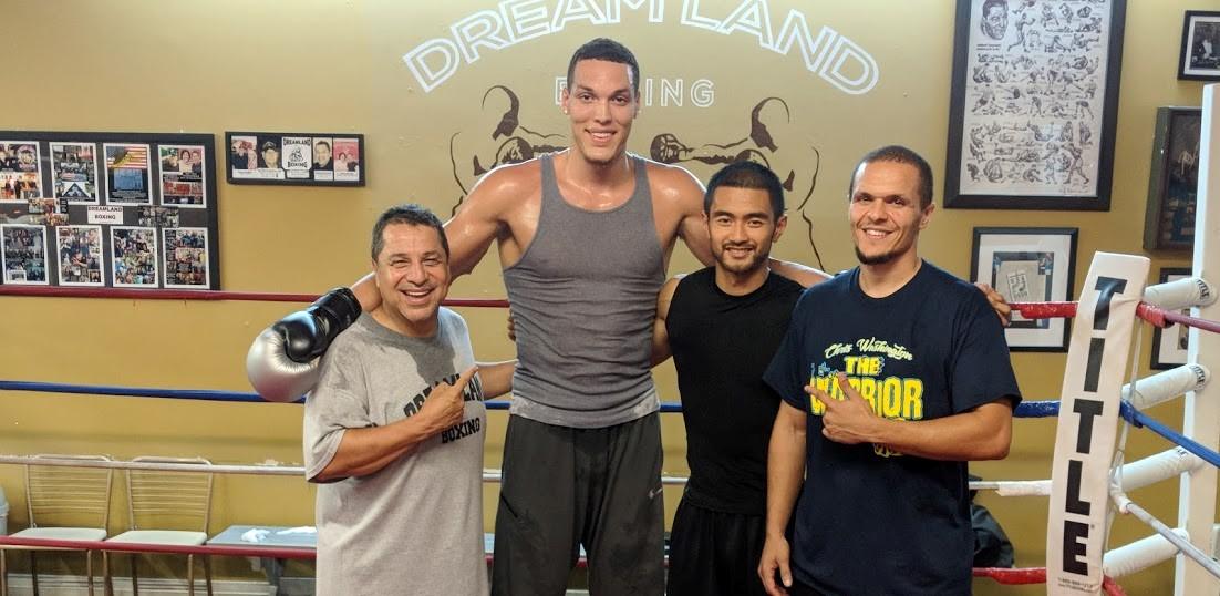 "Chris ""The Warrior"" Washington, Coach Ian Cruz, Orlando Magic's Aaron Gordon, and Jesse Huerta at Dreamland Boxing in San Jose, CA"