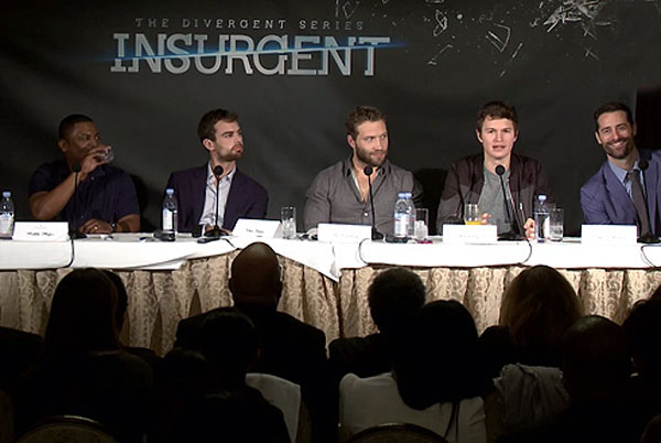Mandeville Films EP Todd Lieberman on Insurgent junket panel at the Beverly Hills Four Seasons Hotel with co-producer Douglas Wick, Mekhi Phifer, Theo James, Jai Courtney & Ansel Elgort.