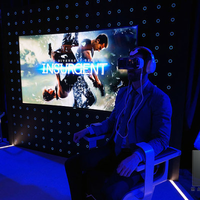 Mandeville Films EP Todd Lieberman immersed in the amazing Insurgent Shatter Reality Gear Virtual Reality experience.