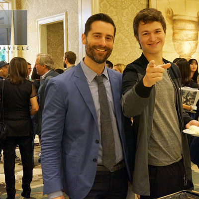 Mandeville Films EP Todd Lieberman catching up with actor Ansel Elgort after the Insurgent junket panel at the Beverly Hills Four Seasons Hotel.