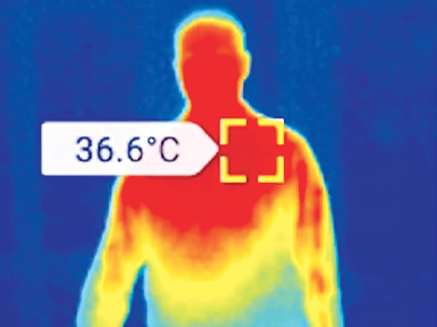 Thermal image of man with temperature of 36.6 Celcius