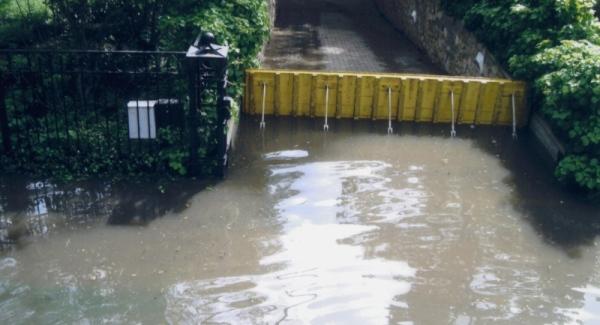 FloodBreak Automatic Floodgate prevents flood damage to below grade rooms