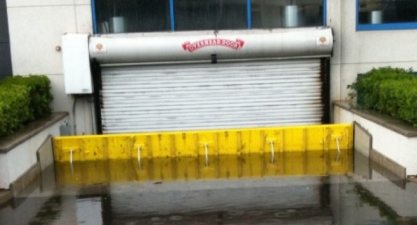 FloodBreak Automatic Floodgate protects below grade garage from flood damage