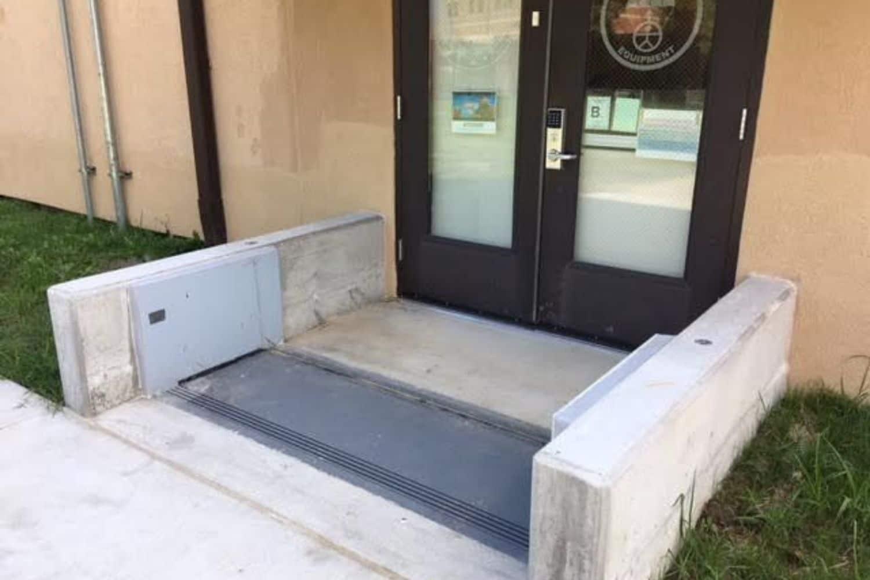 slimline gate protecting doorway