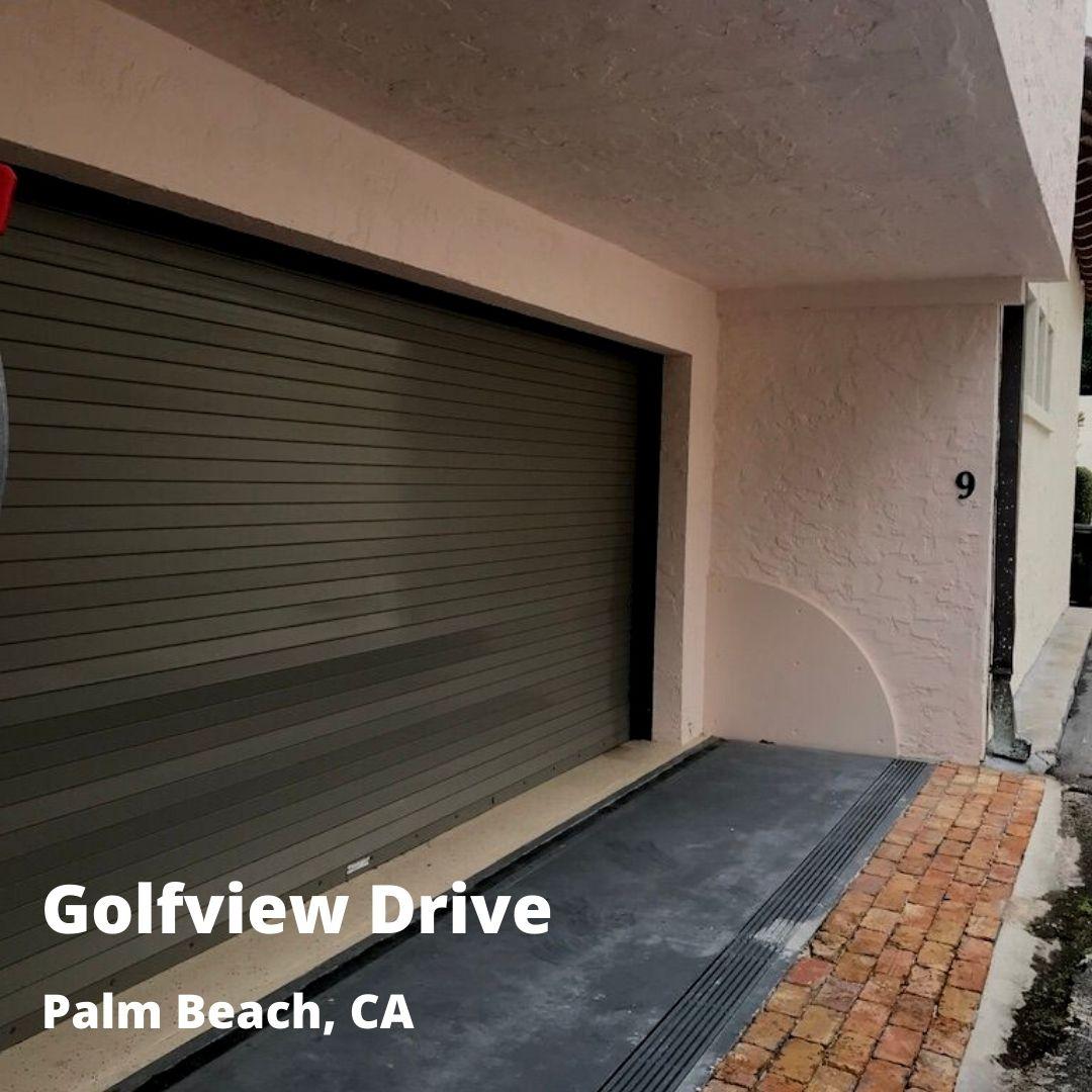 residential flood barrier outside garage
