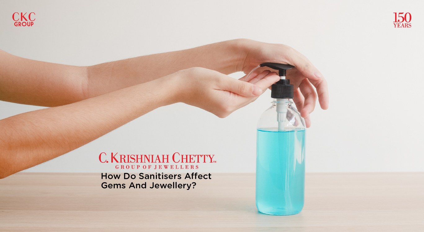 How do sanitisers affect Gems and Jewellery?