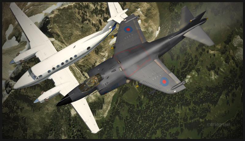 Harrier interceptant un bimoteur