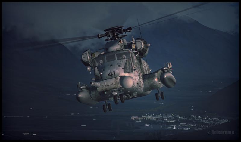 Sikorsky MH-53 au décollage de Queenstown en Nouvelle-Zélande