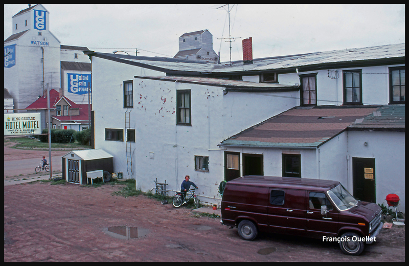Le motel King George à Watson, Saskatchewan en 1981