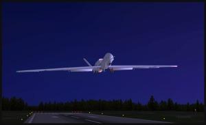 RQ-4B Global Hawk au-dessus de la piste de l'aéroport de Williams Lake, Canada (FSX)