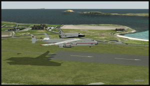 Antonov 225 avec la navette Bourane au-dessus de la piste de Sumburgh, Scotland (FSX)