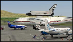 Antonov 225 circule sur la rampe à Sumburgh, Écosse (FSX)