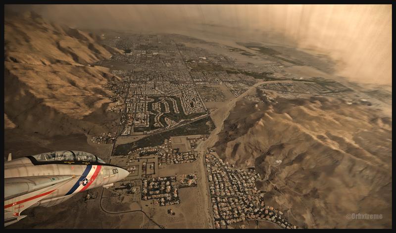 F14 Tomcat en rapprochement pour l'aéroport de Palm Springs (FSX), USA (KPSP)