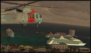 Photo d'un UH-60L (FSX) Blackhawk en approche vers des navires de croisière dans le port de Nassau