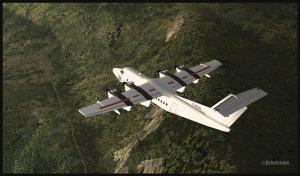 De Havilland Canada DHC-7 Dash 7 au-dessus de la Kokoda trail en Papouasie Nouvelle-Guinée