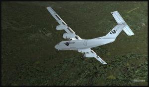 Virage serré à droite pour un Dash 7 (FSX) atterrissant à Kagi, Papouasie Nouvelle-Guinée