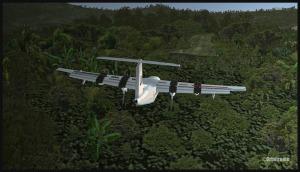 Un Dash 7 (FSX) en finale pour Kagi, Papouasie Nouvelle-Guinée