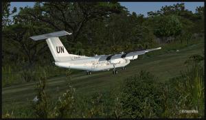 Un Dash 7 des Nations Unies à l'atterrissage sur la piste 07 de Kagi, Papouasie Nouvelle-Guinée