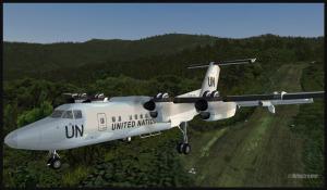 De Havilland Dash 7 au décollage de Kagi