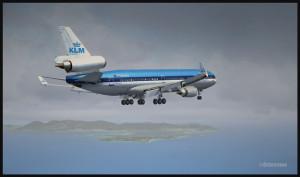 Un MD-11 de KLM approche de l'aéroport de Saint-Martin