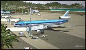 MD-11 de KLM sur la rampe à Saint-Martin