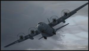 C-130 canadien en approche pour le porte-avions USS Enterprise