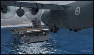C-130 canadien en courte finale pour le porte-avions USS Enterprise