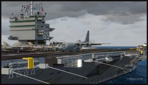 C-130 canadien arrivant sur le pont du porte-avions USS Enterprise