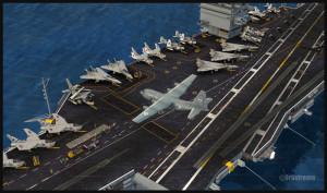 C-130 canadien stationnant sur le pont du porte-avions USS Enterprise