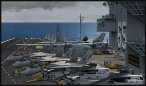 Vue du pont du porte-avions USS Enterprise avec un C-130 Hercules canadien