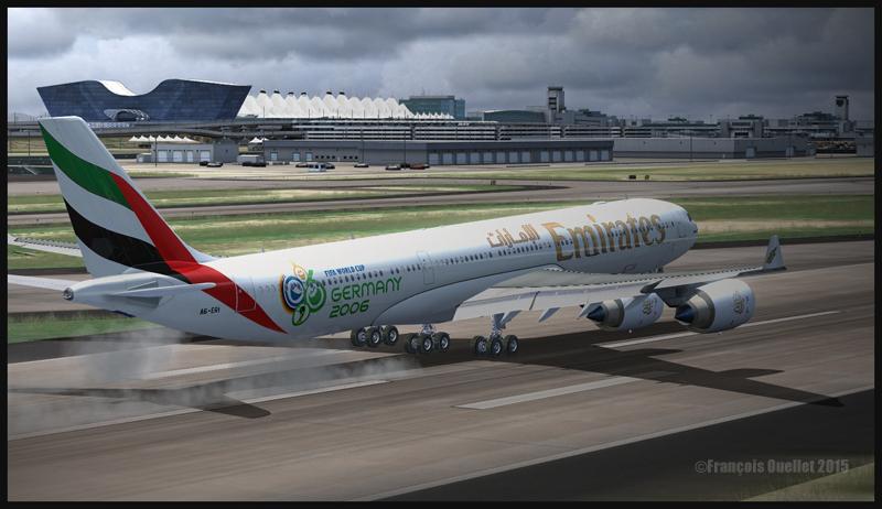 Un Airbus A340-500 atterri à l'aéroport international de Denver